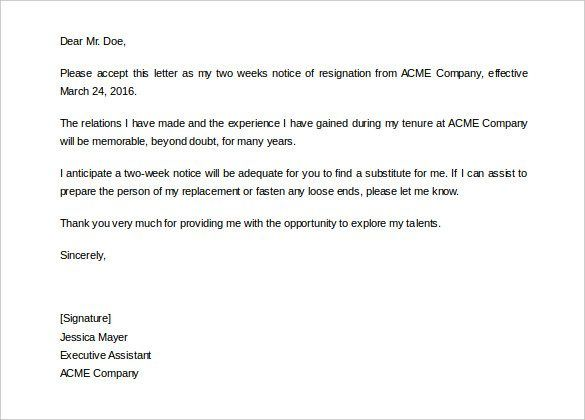 Two Weeks Notice Letter Free Word Pdf Documents Download Consent