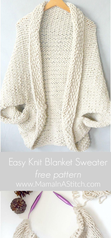 Knit Cocoon Shrug Pattern Easy Free Tutorial | Artesanías ...
