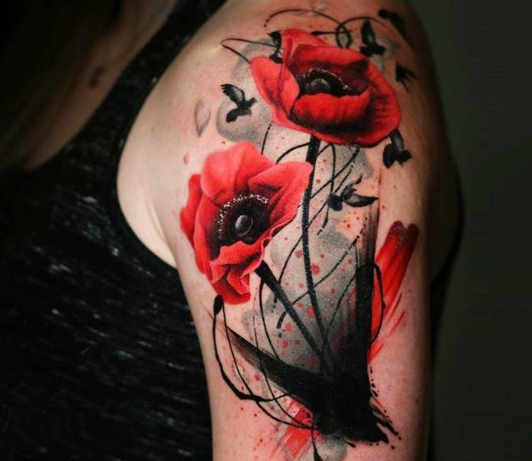 Wild Poppy Flowers Tattoo Von Michael Taguet Post 20054 Vervollkommnen Sie Schwarze Und Rote Aq Mohnblumen Tattoo Mohn Blume Tattoo Beeindruckende Tattoos