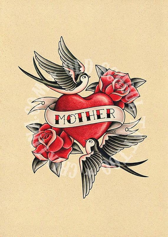 Sailor Jerry Mom Heart Tattoo : sailor, jerry, heart, tattoo, MOTHER, LOVE., Heart, Swallows, Roses, Flash, Tattoo., School, Tattoo,, Tattoo, Illustration
