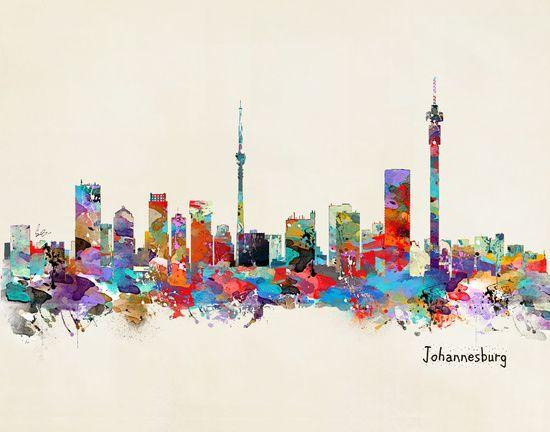 unframed 8894 Cape Town South Africa Skyline art print