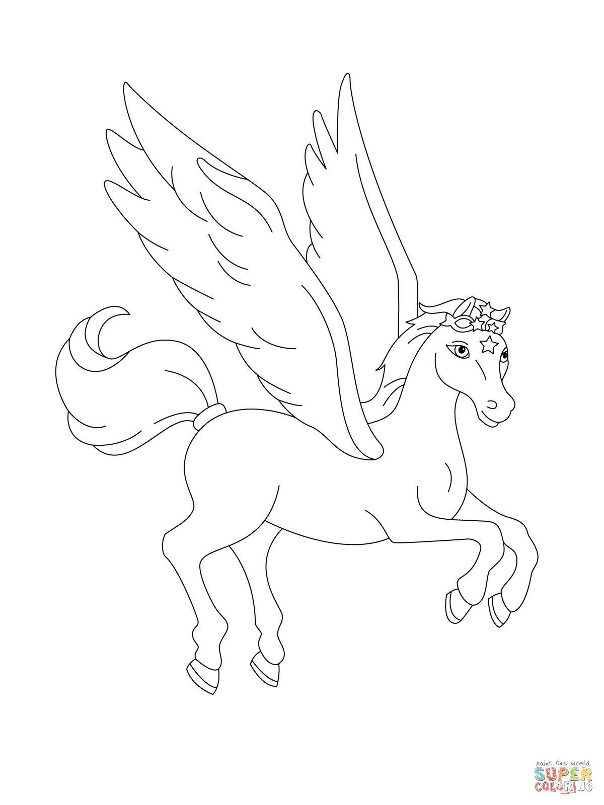 Pegasus Flying Coloring Page Supercoloring Com Unicorn Coloring Pages Coloring Pages Color Worksheets