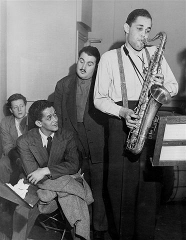Unknown, Trummy Young, Teddy Reig, Dexter Gordon, Savoy records recording session, NYC, 1947