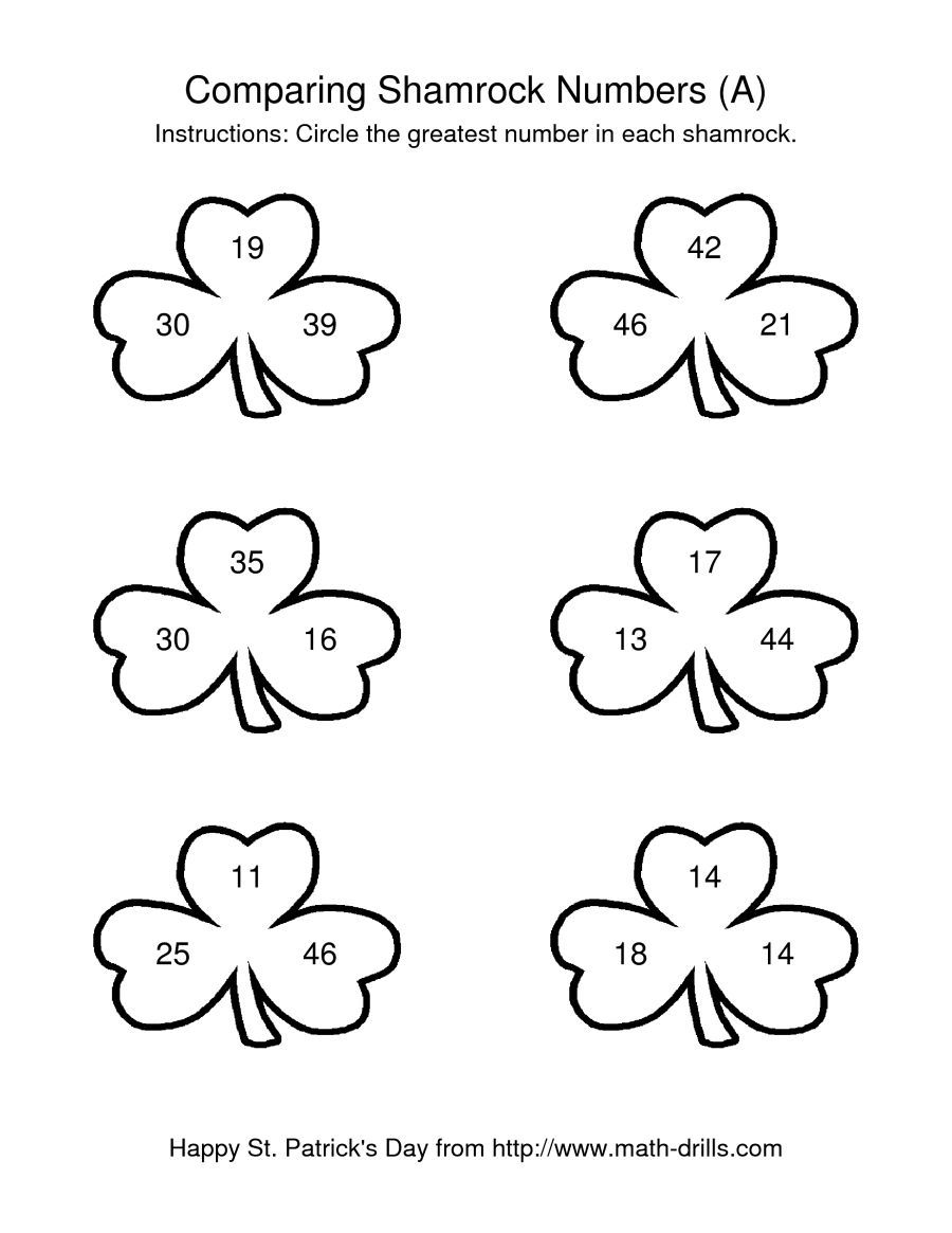 The St Patrick S Day Comparing Numbers To 50 In Shamrocks A Math Worksheet From The St Patrick S Day M Basic Math Worksheets Math Worksheets Math Worksheet [ 1165 x 900 Pixel ]