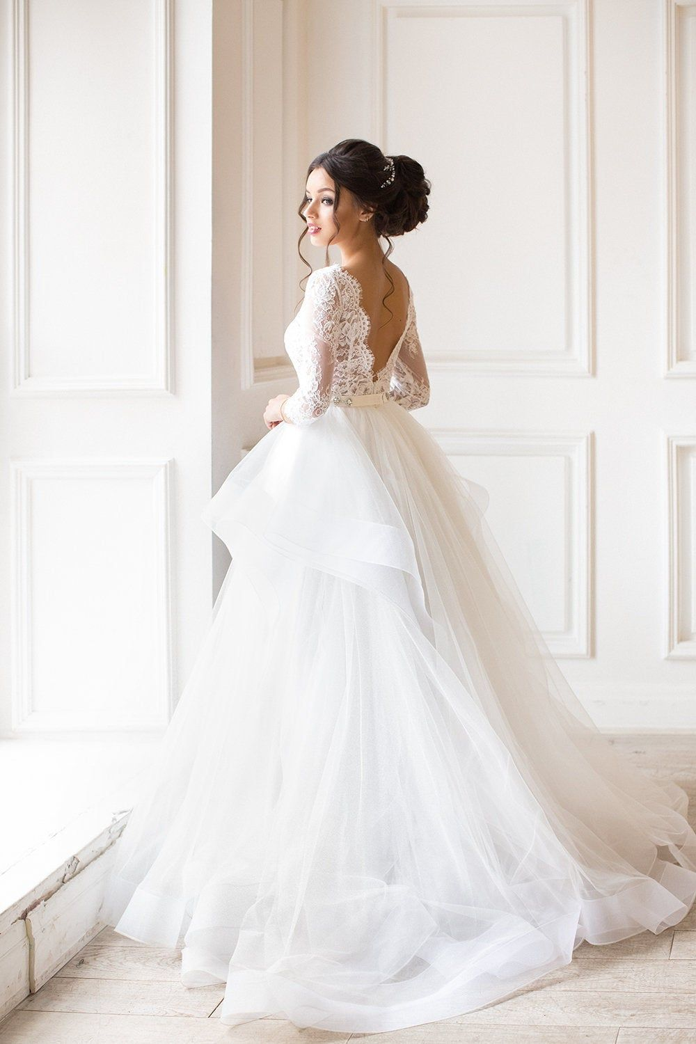Two Piece Wedding Dress,Alternative Wedding Dress ,Long