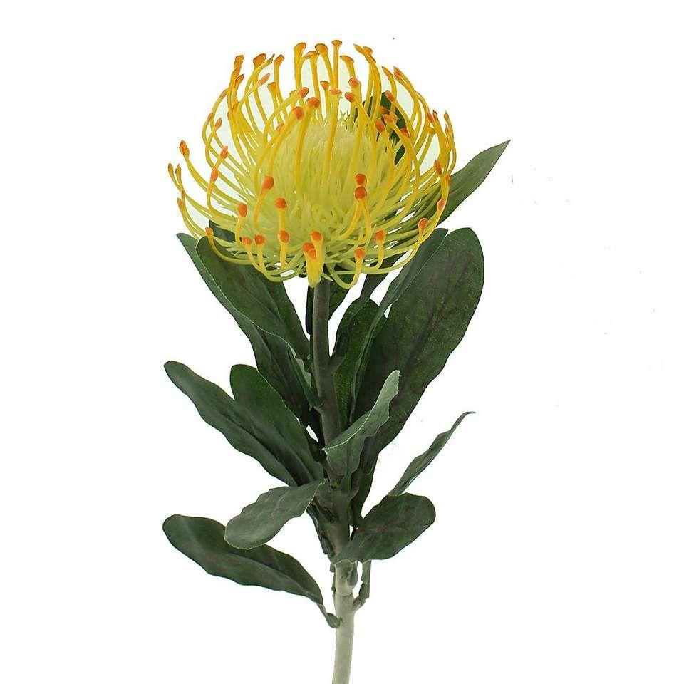 Artificial Pincushion Protea Yellow Single Stem 67cm Protea Flower Artificial Flowers Flowers