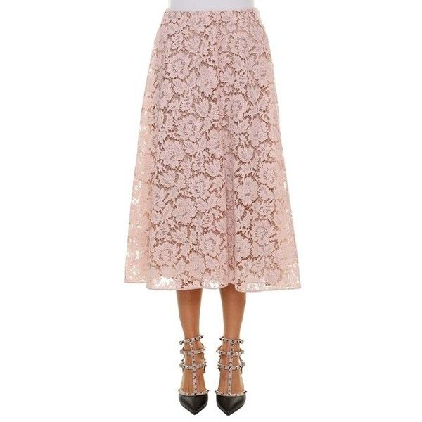 9b3d657cb6 VALENTINO Heavy Lace Skirt ($1,380) ❤ liked on Polyvore featuring skirts,  pink, pink skirt, valentino skirt, lacy skirt, lace skirt and knee length  lace ...