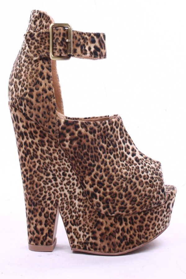 042209f1b34a LEOPARD PRINT SUEDE ROUND OPEN PEEP TOE WEDGE
