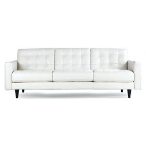 Bloomingdales White Leather Sofa