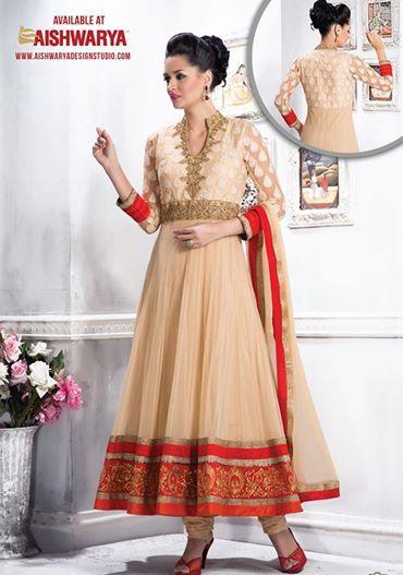 This attire reflects pure elegance in the very classic salwar suit... Salwar kameez  works for all functions and Salwar suit gorgeous too. Shop Salwar Kameez Online! http://www.aishwaryadesignstudio.com/readymade%20dresses/16582-designer-beige-color-anarkali-suit.aspx