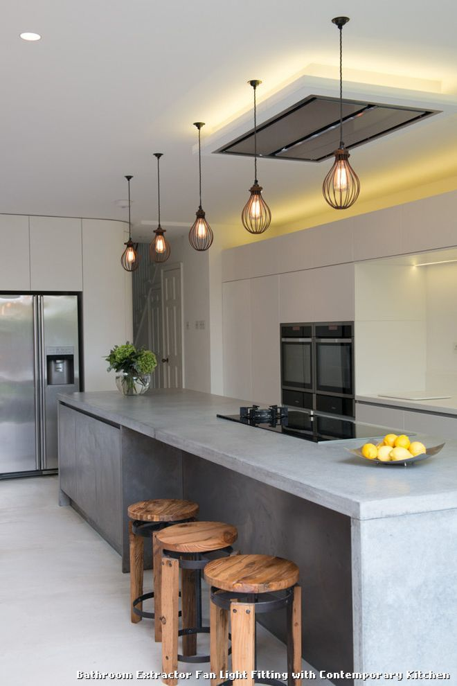 Bathroom extractor fan light fitting with contemporary kitchen with a breakfast bar stools