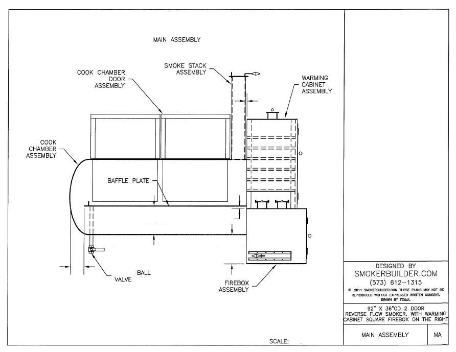 36 x 92 Reverse Flow Smoker sq  firebox right w/ Warming