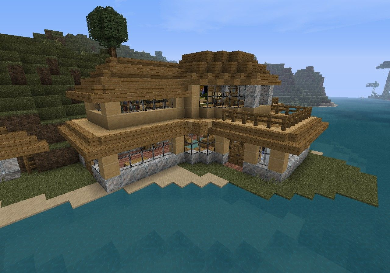 Small Modern Beach House V1 Survival Minecraft Map With Images