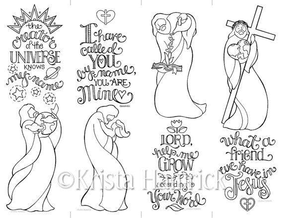 Set Of 4 Jesus Bookmarks Coloring Page 85X11 By KristaHamrick