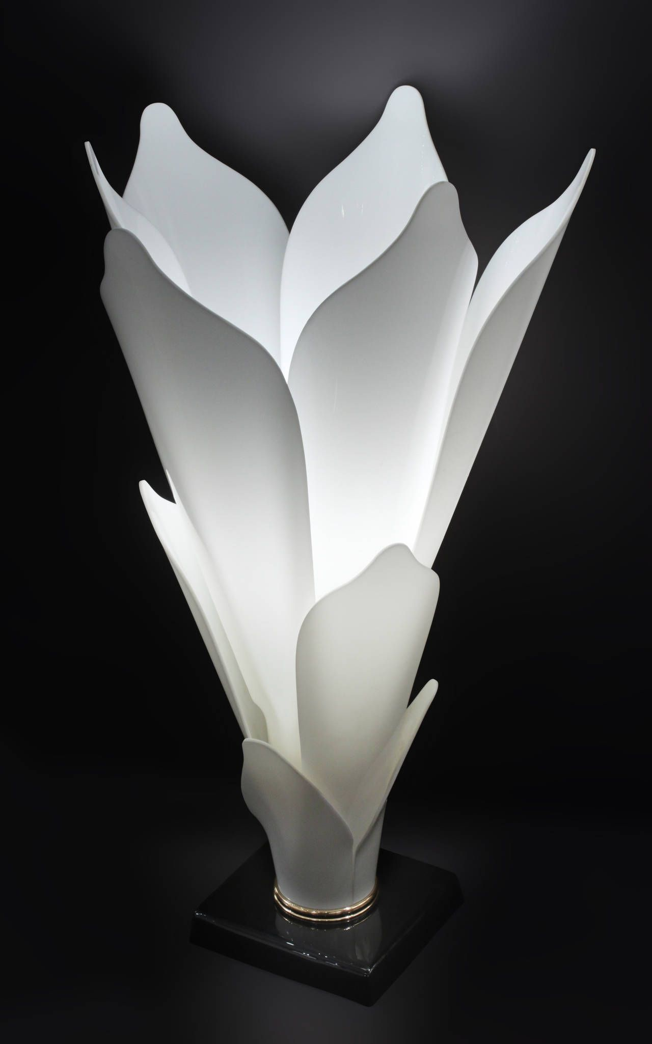 Flower Table Lamp With Molded White Lucite Petals By Rougier Lamp