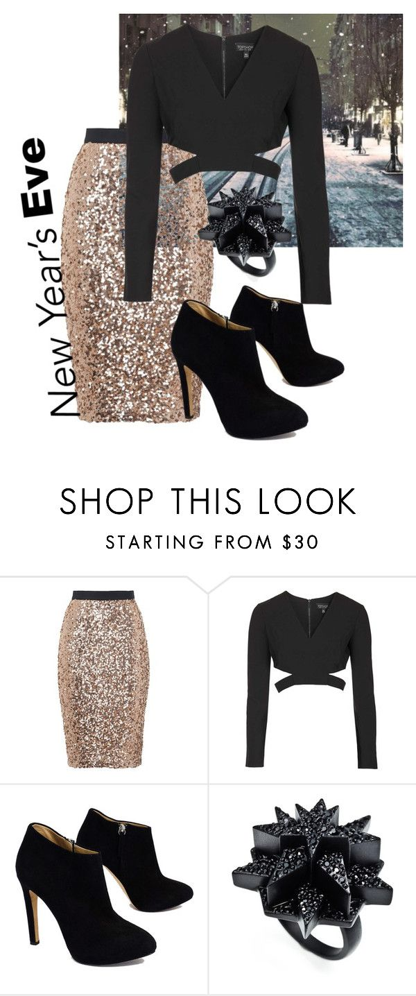 """NYE 2015"" by harknessl on Polyvore featuring French Connection, Topshop, Giuseppe Zanotti and Eddie Borgo"