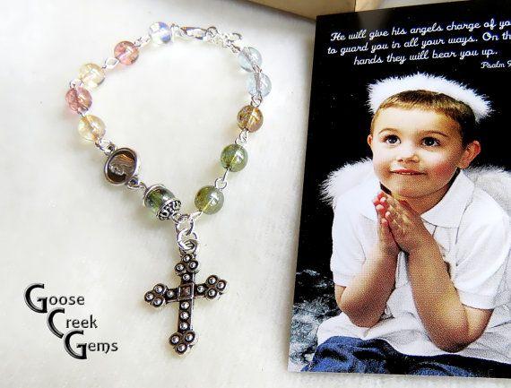 Rosary Bracelet with Fire-polished Czech glass by GooseCreekGems