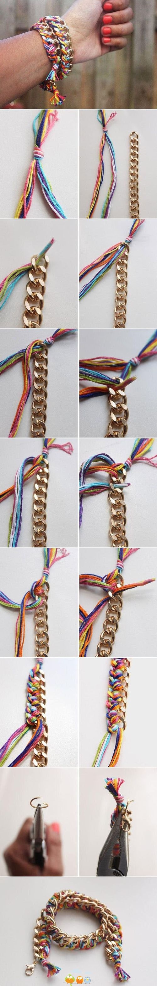 DIY summer bracelet with thick gold chain and a variety of thread colors