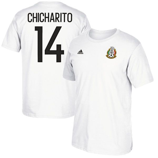 Chicharito Mexico National Team adidas Federation Jersey Hook Player Name & Number T-Shirt - White - $27.99