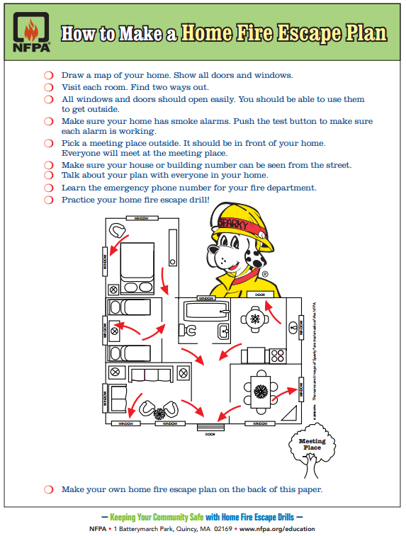 FREE PRINTABLE: How to make a home fire escape plan ... on family security plan logo, family home emergency preparedness, family evacuation plan template, family home evacuation kit, family home disaster plan, family preparedness plan, family home security,
