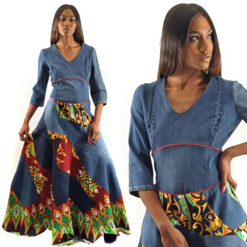 OOAK-Denim-Upcycled-Ankara-Ethnic-Boho-Hippie-Handmade-Dress