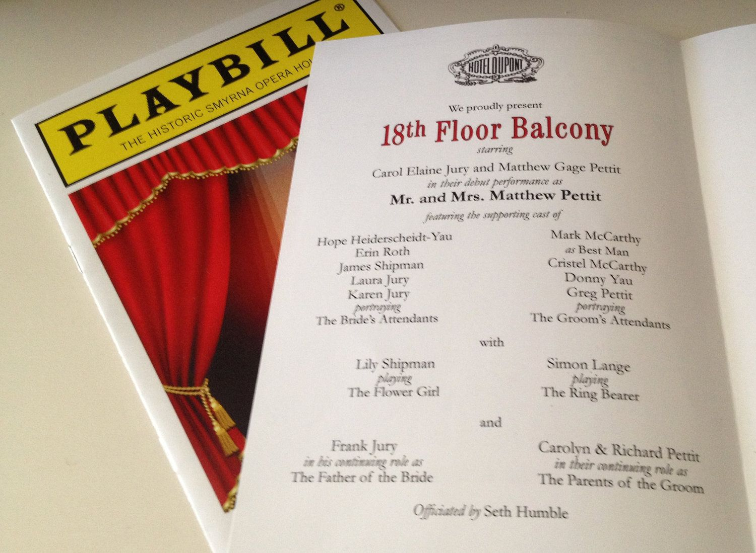 PLAYBILL theater wedding program or invitation 8 page Broadway ...