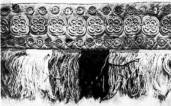 13th-century silk fringe border with bezants from Halberstadt, Germany