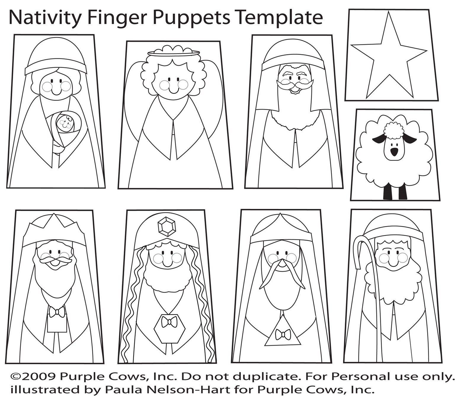 nativity puppet template Bijbel