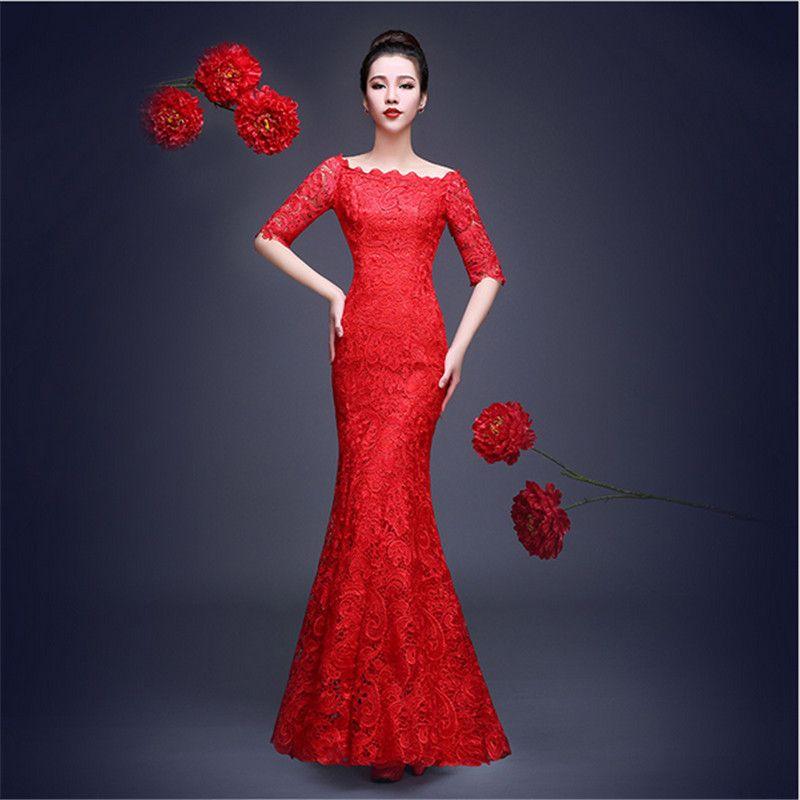 Women Chinese Cheongsam Summer Long Fishtail Lace Chinese ...
