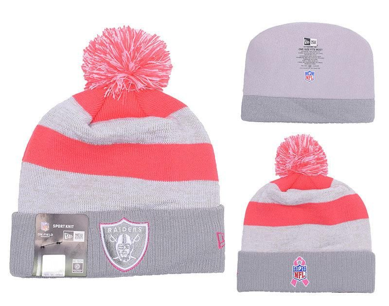 7c8174cf673 Men s   Women s Oakland Raiders New Era NFL Women s Breast Cancer Awareness  Knit Pom Beanie Hat - Pink   Gray
