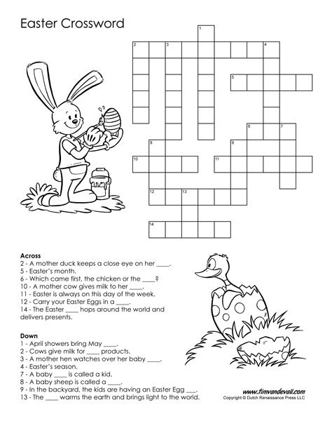 Free Printable Easter Crossword PDF Easter crossword