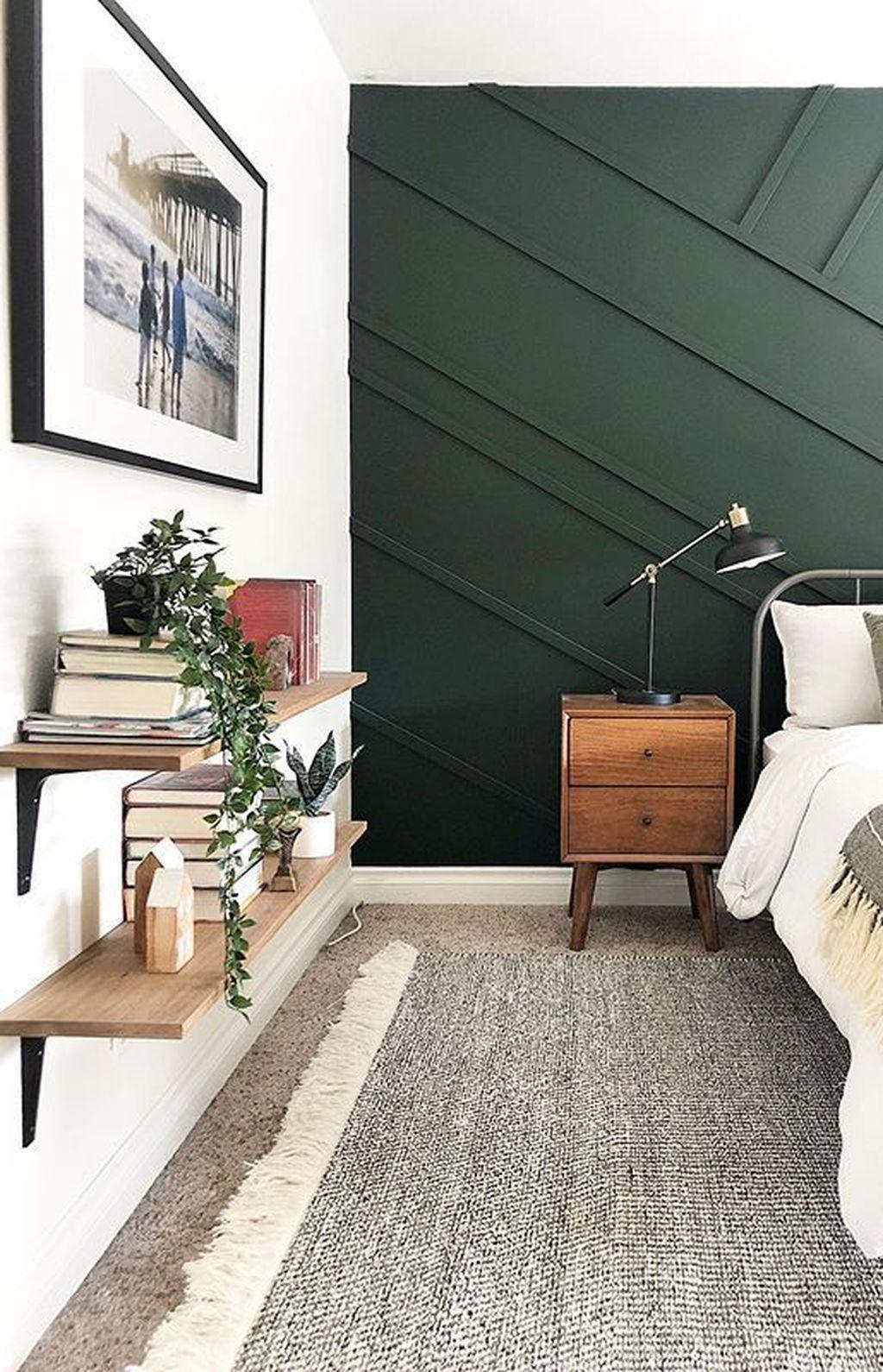 34 Modern Wood Wall Decorations Ideas For Elegant Home Interior Green Bedroom Walls Accent Wall Bedroom Bedroom Design