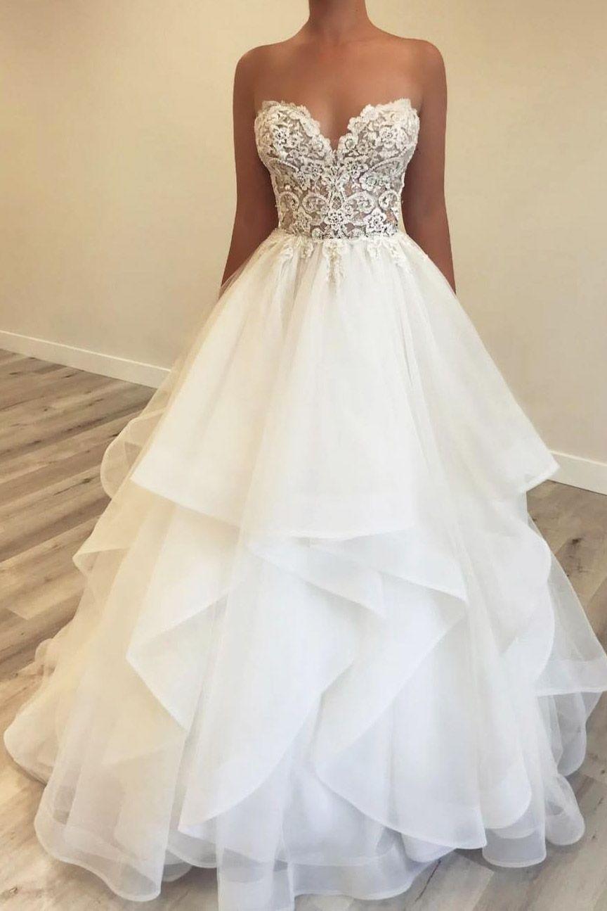 Sweetheart Cascading Ruffles Floor Length Wedding Dress With Lace Top Ruffle Wedding Dress Bridal Dresses Lace Top Wedding Dress