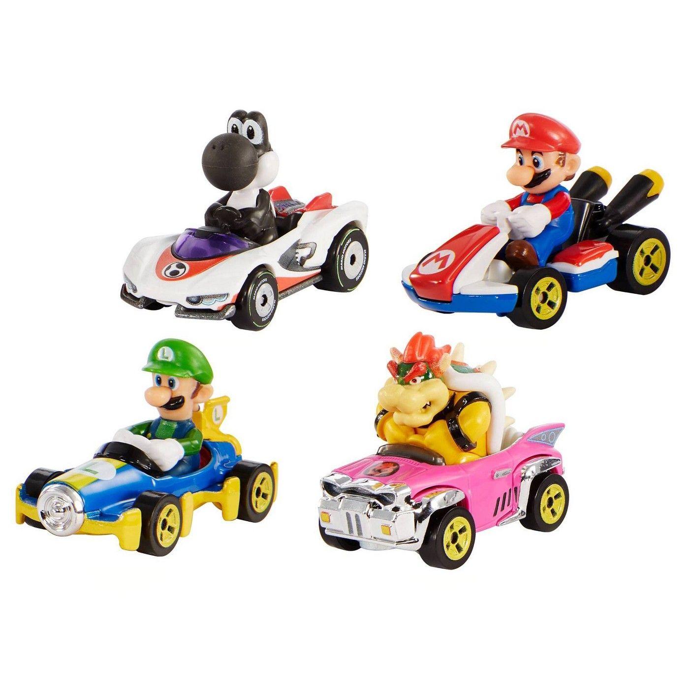 Hot Wheels Mario Kart Diecast 4 Car Pack In 2020 Hot Wheels Mattel Hot Wheels Mario Kart