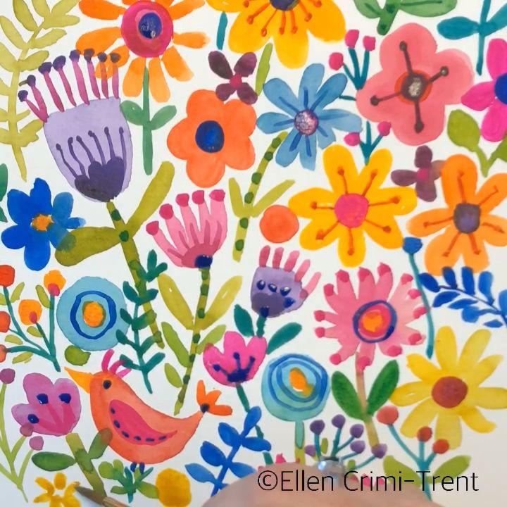 Watercolor floral burst