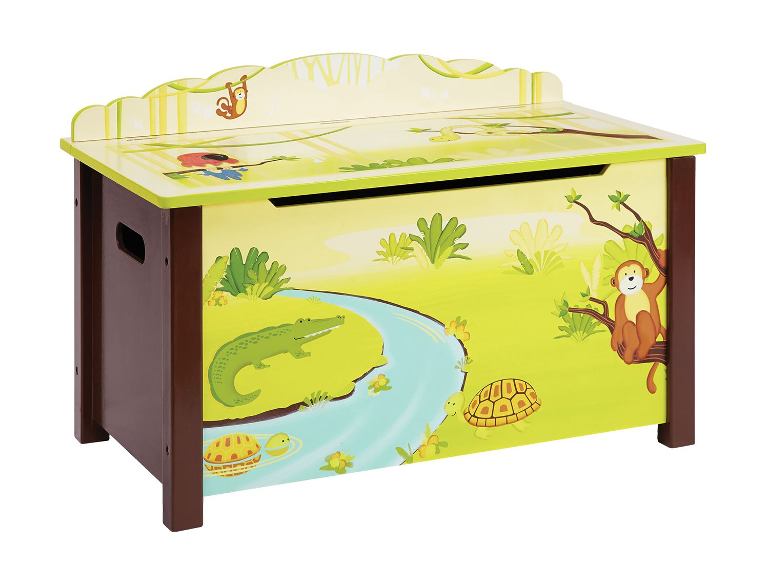 in the jungle toy box ~ this gorgeous toy box is decorated