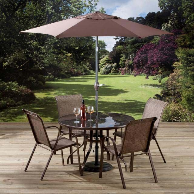 a luxury 6 piece garden table chairs set includes 4 garden chairs with striped lounger cushions - Garden Furniture Table And Chairs