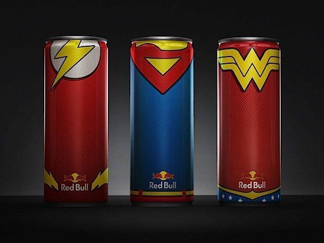 Red Bull Dosen im Superhelden-Design