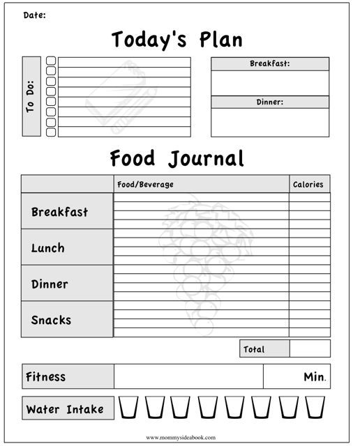 Blank Food Journal Templates  Food Journal Template  Word