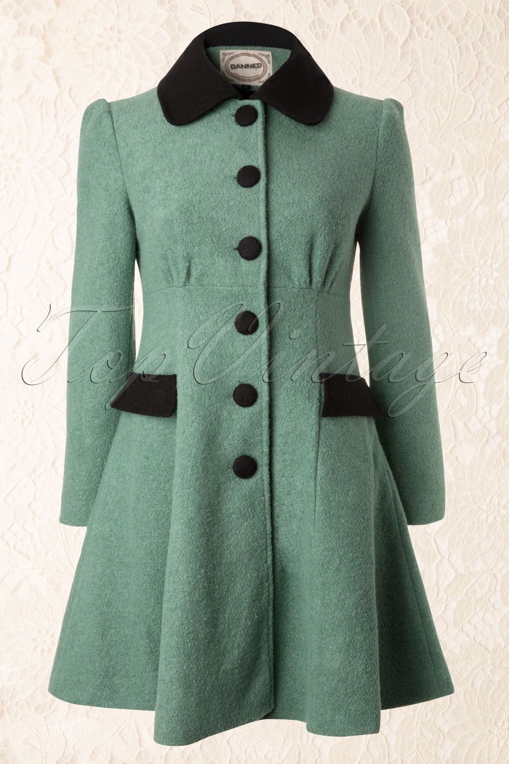50s Elegant Black and Mint Winter Coat | Retro | Pinterest ...