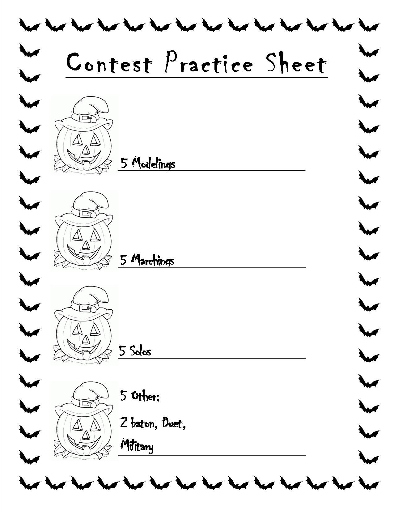 Halloween Worksheet For My Baton Twirling Students As They