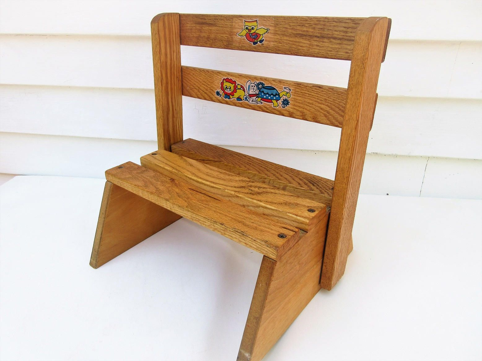 Vintage Wooden Folding Chair Kids Step Stool Wood Step