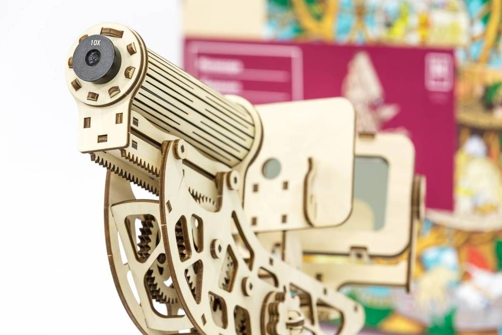 Microscope 3D Mechanical wooden model and kit