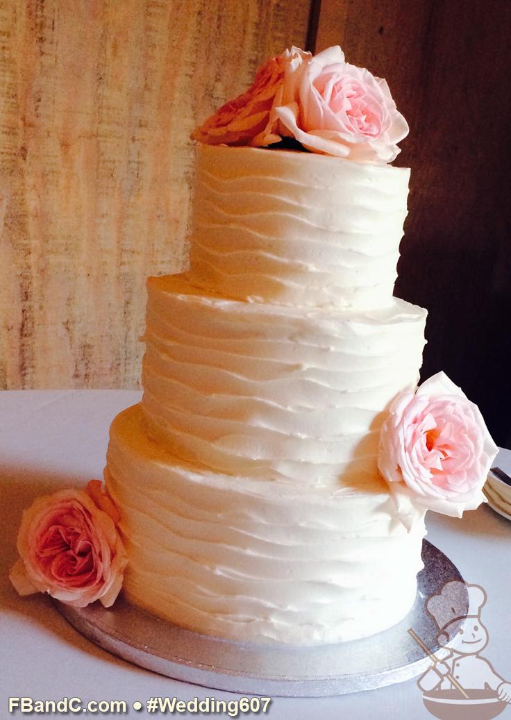 "Design W 0607 Butter Cream Wedding Cake 10""+8""+6"