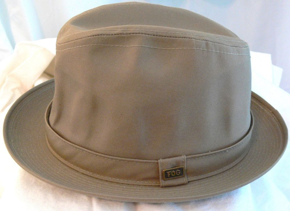 LONDON FOG Fedora Londontown Khaki Beige Hat Cap Waterproof Sz 7 1 4 Made In 418ab141182