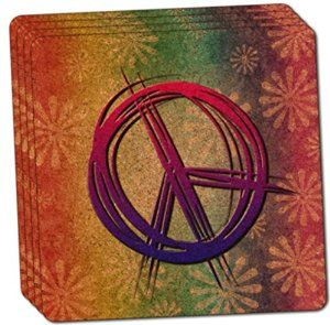 "Amazon.com: Custom & Cool {4"" Inches} Set Pack of 4 Square ""Grip Texture"" Drink Cup Coaster Made of Cork w/ Modern Chic Decor Hippie Peace Signs Flowers Collage Design [Purple, Pink, Green & Yellow Colors]: Home & Kitchen"