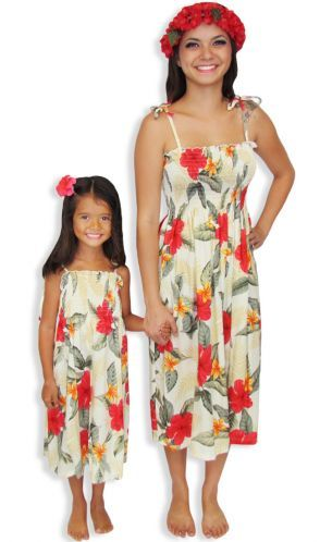 Women's Hawaiian dress with matching Girls Rayon Dress for Resort ...