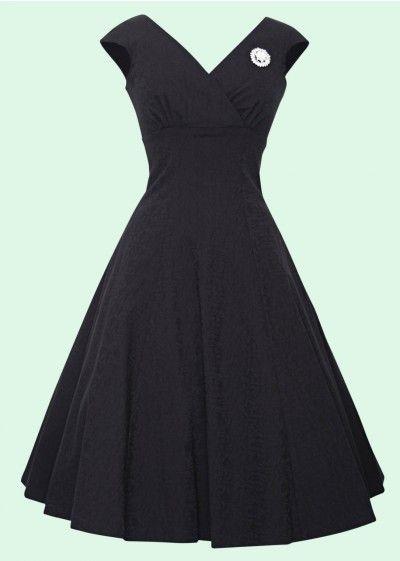Retrospecd: Empire sort brokade 1950'er kjole