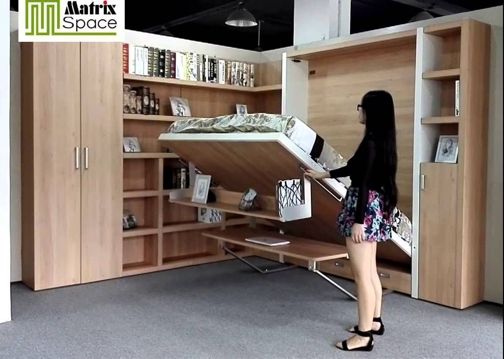 smart space saving wall bed murphy bed with bookshelf desk on wall beds id=27863