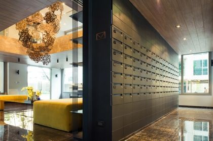Fancy Condo Lobby With Mailboxes Google Search Mail Room Condominium Design Lobby Design
